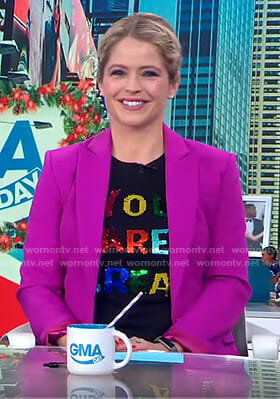 Sara's black You Are Great Tee on GMA Day