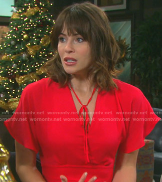 Sarah's red tie neck flutter sleeve dress on Days of our Lives