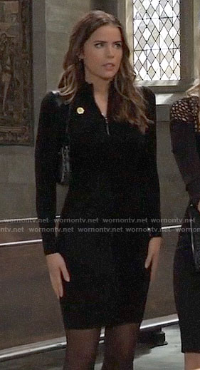 Sasha's black zip neck dress on General Hospital