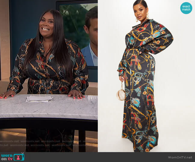 Satin Chain Print Tie Waist Wide Leg Jumpsuit by Pretty Little Thing worn by Nina Parker  on E! News