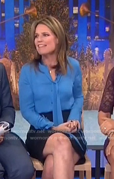 Savannah's blue tie neck blouse on Today