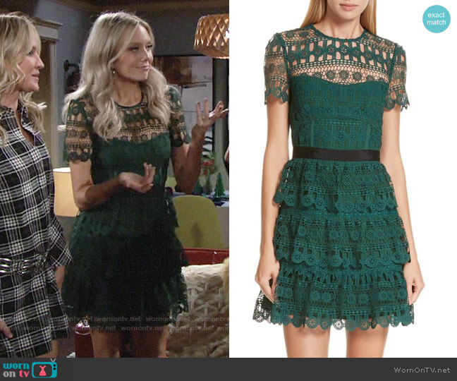 Self Portrait Tiered Guipure Lace Minidress worn by Abby Newman (Melissa Ordway) on The Young & the Restless
