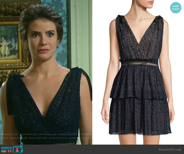 V-Neck Sleeveless Metallic Mesh Cocktail Dress by Self Portrait worn by Sarah Horton (Linsey Godfrey) on Days of our Lives
