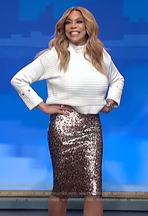 Wendy's ribbed cuff sweater and leopard midi skirt on The Wendy Williams Show