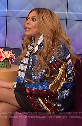 Wendy's stripe sequin dress on The Wendy Williams Show