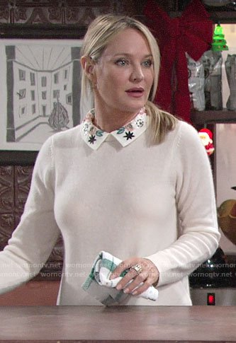 Sharon's sweater with floral embroidered collar on The Young and the Restless