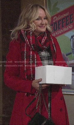 Sharon's red plaid scarf on The Young and the Restless