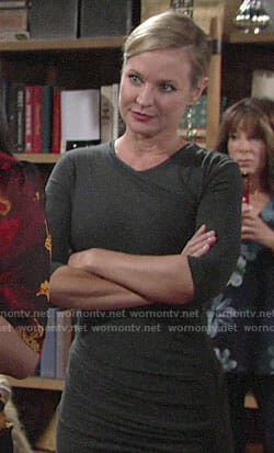 Sharon's ruched dress and rectangle drop earrings on The Young and the Restless