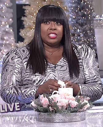Loni's metallic patterned dress on The Real
