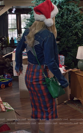 DJ's denim star embellished jacket and plaid skirt on Fuller House