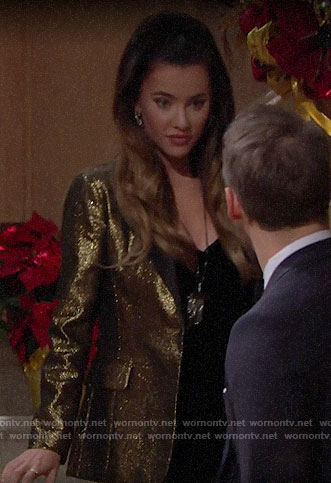 Steffy's gold blazer on The Bold and the Beautiful