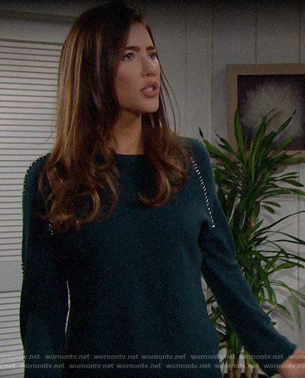 Steffy's teal green sweater with metal rings on The Bold and the Beautiful