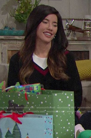 Steffy's layered varsity sweater on The Bold and the Beautiful