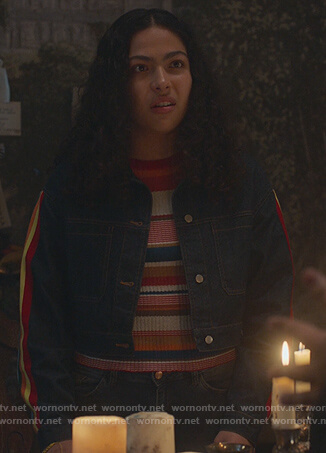 Molly's striped top and denim jacket on Marvel's Runaways