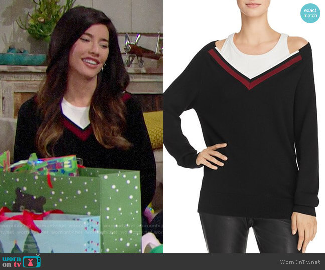 T by Alexander Wang Varsity Trim Layered-Look Sweater worn by Jacqueline MacInnes Wood on The Bold & the Beautiful
