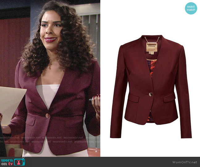 Ted Baker Deliha Jacket worn by Kerry Johnson (Alice Hunter) on The Young & the Restless