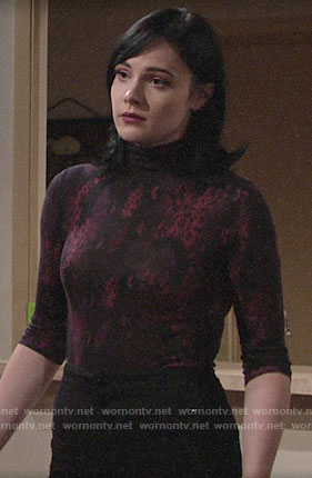 Tessa's snake print top on The Young and the Restless