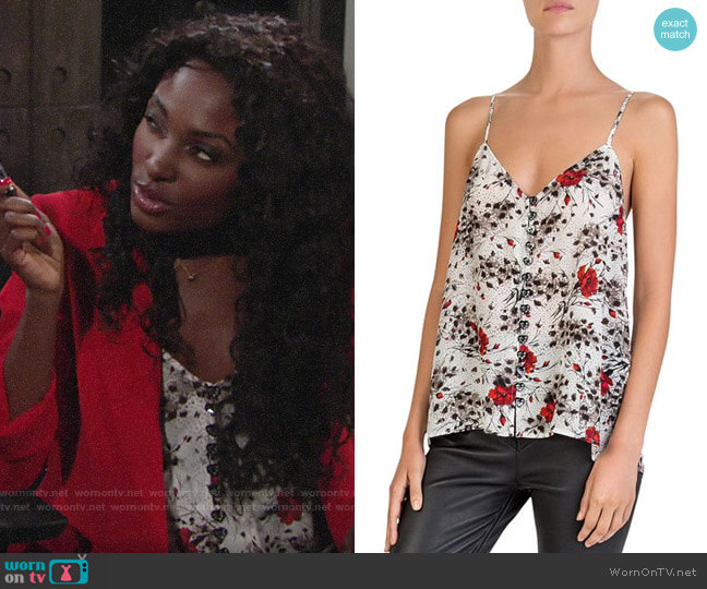 The Kooples Flying Flowers Printed Cami worn by Ana Hamilton (Loren Lott) on The Young & the Restless