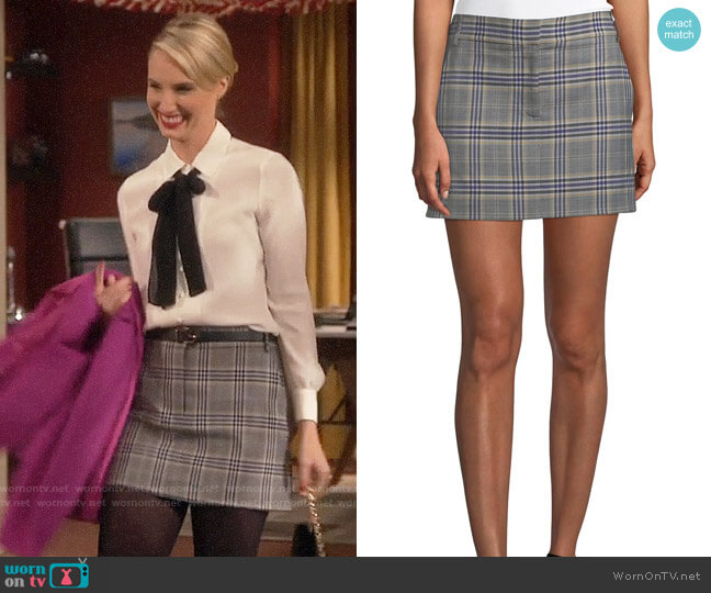 Tibi Lucas Plaid Suiting Mini Skirt worn by Mandy Baxter (Molly McCook) on Last Man Standing
