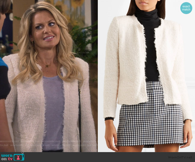Mama bouclé jacket by IRO worn by DJ Tanner-Fuller (Candace Cameron Bure) on Fuller House