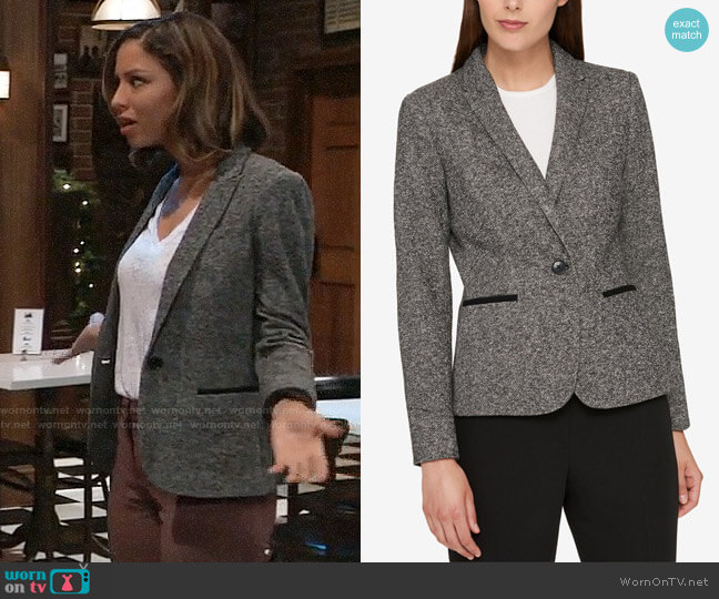 Tommy Hilfiger One-Button Elbow-Patch Blazer worn by Valerie Spencer (Paulina Bugembe) on General Hospital