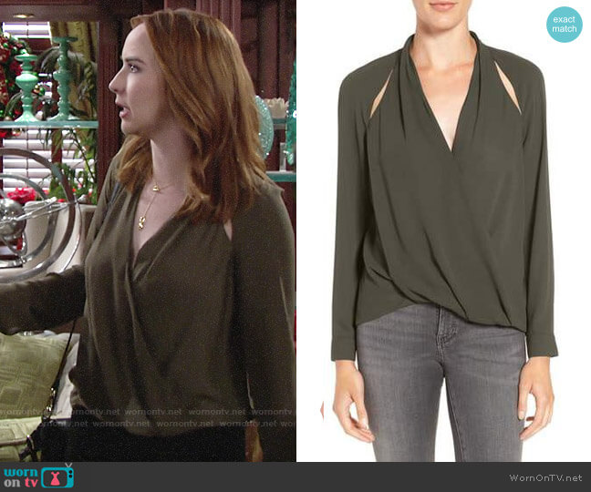 Trouve Cutout Surplice Top worn by Mariah Copeland (Camryn Grimes) on The Young & the Restless