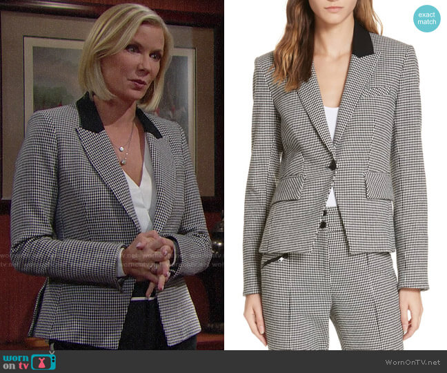 Veronica Beard Airlie Houndstooth Blazer worn by Brooke Logan (Katherine Kelly Lang) on The Bold & the Beautiful
