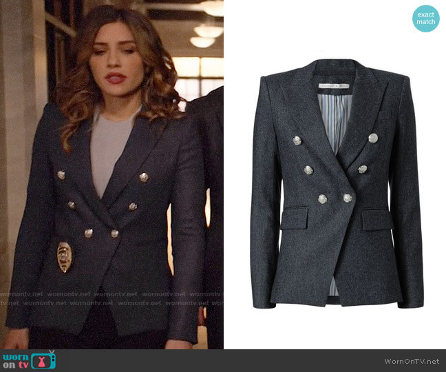 Veronica Beard Miller Herringbone Jacket worn by Juliana Harkavy on Arrow