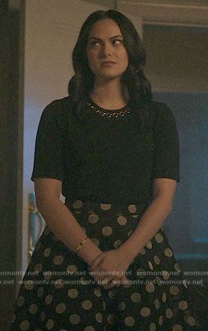 Veronica's ring detail top and polka dot skirt on Riverdale