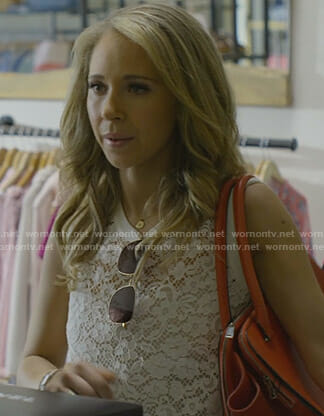 Veronica's white sleeveless lace top on Dirty John