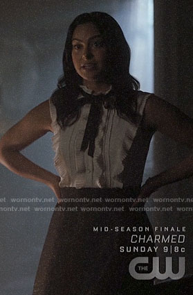 Veronica's white ruffled sleeveless top on Riverdale