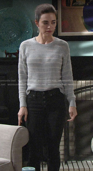 Victoria's grey striped sweater on The Young and the Restless