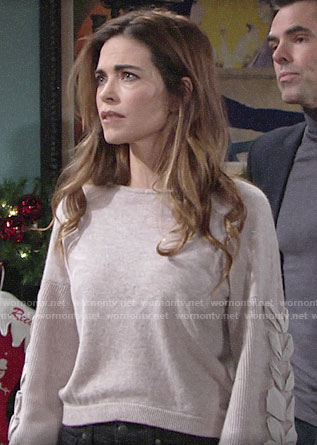 Victoria's sweater with lace-up sleeves on The Young and the Restless