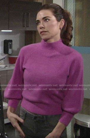 Victoria's pink sweater on The Young and the Restless