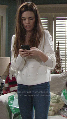 Victoria's white pom pom sweater on The Young and the Restless