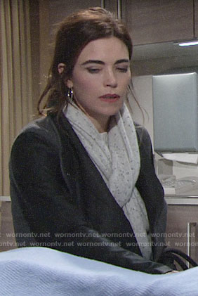 Victoria's speckled scarf on The Young and the Restless
