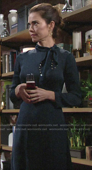 Victoria's teal tie-neck dress on The Young and the Restless