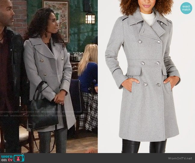 Vince Camuto  Double-Breasted Peacoat worn by Jordan Ashford (Briana Nicole Henry) on General Hospital