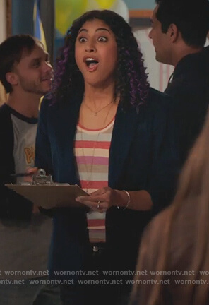 Heather's striped tee and blue blazer on Crazy Ex Girlfriend