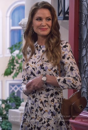 CJ's white abstract print mini dress on Fuller House
