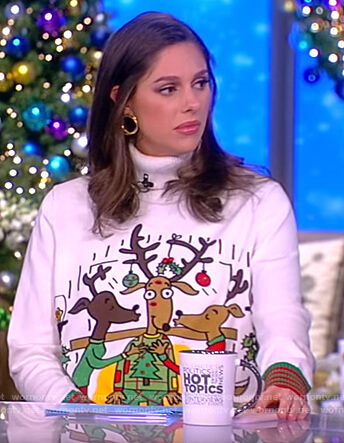 Abby's white reindeer Christmas sweater on The View