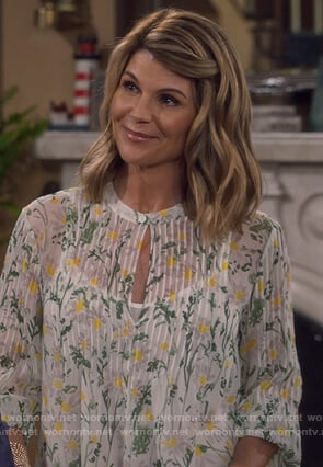 Rebecca's floral pleated front blouse on Fuller House