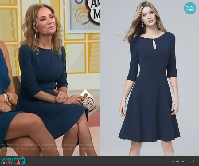 Keyhole-Neck Knit Fit and Flare Dress by White House Black Market worn by Kathie Lee Gifford  on Today