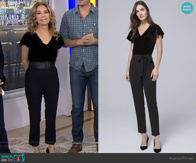 Velvet Bodice Black Jumpsuit by White House Black Market worn by Kathie Lee Gifford (Kathie Lee Gifford) on Today