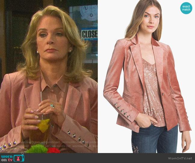 Velvet Blazer Jacket by White House Black Market worn by Marlena Evans (Deidre Hall) on Days of our Lives