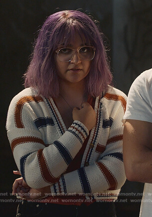 Gert's white striped cropped cardigan on Marvel's Runaways