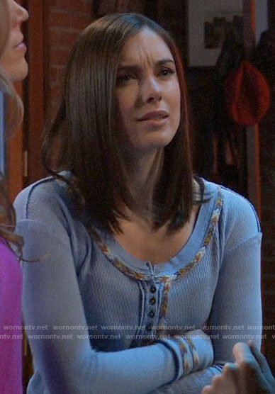 Willow's blue embroidered trim henley top on General Hospital