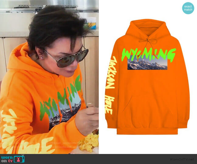 Wyoming Hoodie Orange by Yeezy worn by Kris Jenner  on Keeping Up with the Kardashians