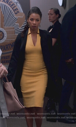 Catherine's yellow v-neck sheath dress on Marvel's Runaways