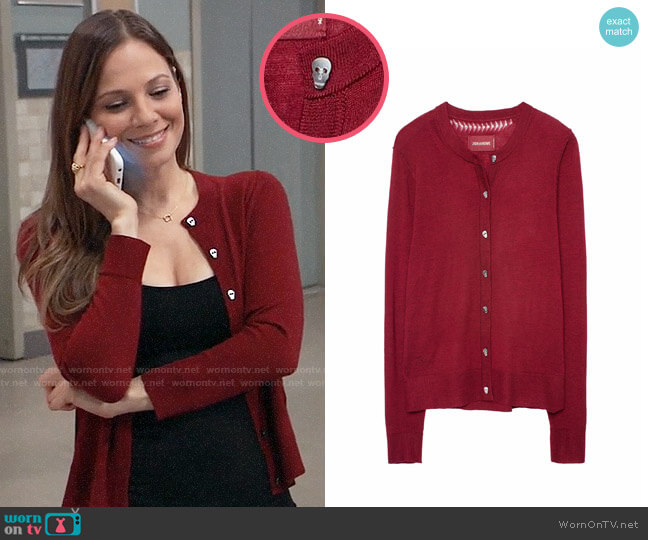 Zadig & Voltaire Ninon Cardigan worn by Kim Nero (Tamara Braun) on General Hospital